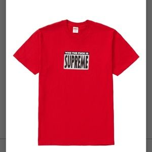 """Supreme """"Who the fuck"""" tee, red, XL"""